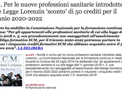 Ecm –  Per le nuove professioni sanitarie